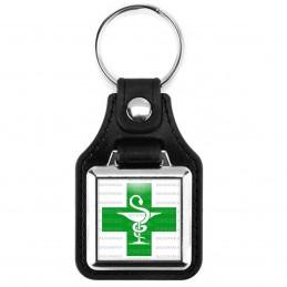 Porte-Clés Carré Cuir Vegan Caducée Esculape Croix Verte Pharmacie