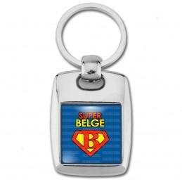 Porte Clés Rectangle Acier 2 Faces Super Belge - Super Héros Homme Fond Bleu