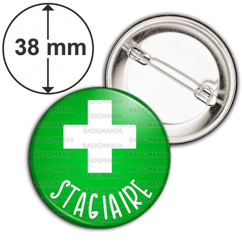 Badge 38mm Epingle Stagiaire en Pharmacie Croix Fond Vert