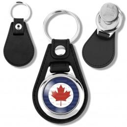 Porte-Clés Cuir Vegan Rond Jeton Caddie Cocarde Force Aerienne Canadienne Canada RCAF Feuille Erable Rouge