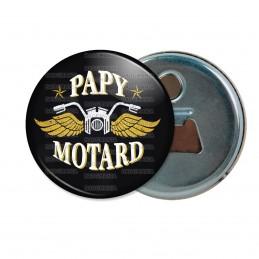 Décapsuleur 6cm Aimant Magnet Papy Motard - Moto Ailée fond noir