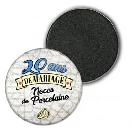 Magnet Aimant Frigo 3.8cm 20 ans de Mariage Noces de Porcelaine - Anneaux Anniversaire Mariage