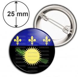 Badge 25mm Epingle Drapeau Guadeloupe Gwada Emblème Soleil Canne à Sucre Fleur de lys