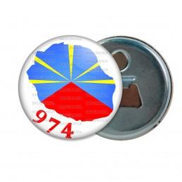 Décapsuleur 6cm Aimant Magnet Ile de la Réunion 974 Drapeau Réunionais Flag Emblème France