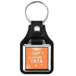 Porte-Clés Carré Cuir Vegan Super Future TATA - Etoiles Fond Orange
