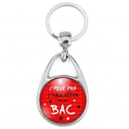 Porte Clés Métal 2 Faces Logo 3cm J'Peux Pas J'Vais fêter mon BAC - Etoiles Fond Rouge - Diplôme Etude