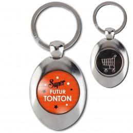 Porte-Clés Acier Ovale Jeton Caddie Super Futur TONTON - Etoiles Fond Orange