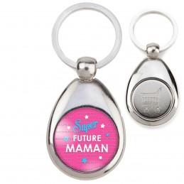 Porte-Clés Acier Goutte Jeton Caddie Super Future MAMAN - Etoiles Fond Rose