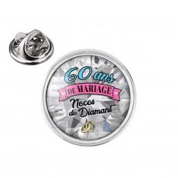 Pin's rond 2cm argenté 60 ans de Mariage Noces de Diamant - Anneaux Anniversaire Mariage
