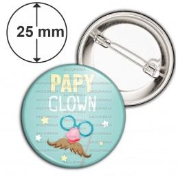 Badge 25mm Epingle Papy Clown - Nez Rouge Moustache