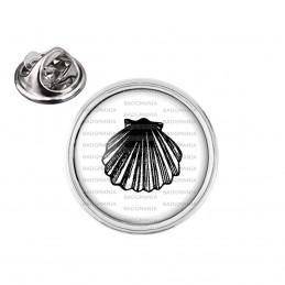 Pin's rond 2cm argenté Coquille Saint Jacques - Animal Symbole Marin