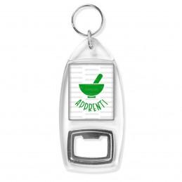Porte Clés Décapsuleur Apprenti Préparateur en Pharmacie Mortier Vert Fond Blanc