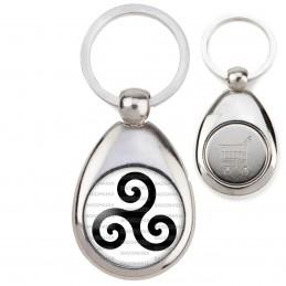 Porte-Clés Acier Goutte Jeton Caddie Triskell Symbole Celte Celtique Breton Bretagne Noir Fond Blanc
