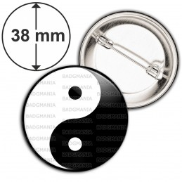 Badge 38mm Epingle Yin Yang Blanc Noir Harmonie Equilibre Feng Shui Paix Peace