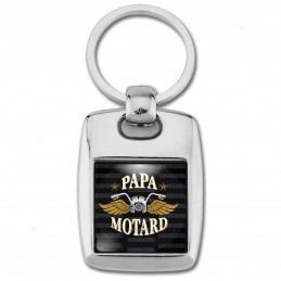 Porte Clés Rectangle Acier 2 Faces Papa Motard - Moto Ailes Or Fond Noir