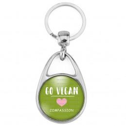 Porte Clés Métal 2 Faces Logo 3cm Go Vegan COEur Rose Compassion
