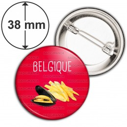 Badge 38mm Epingle Belgique Moules Frites