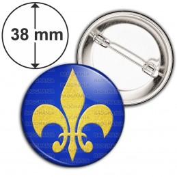 Badge 38mm Epingle Fleur de Lys Royale Roi de France Royauté - Or sur Fond Bleu
