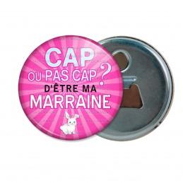 Décapsuleur 6cm Aimant Magnet Cap ou pas Cap d'être ma Marraine - Fond rose Lapin
