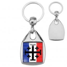 Porte-Clés Carré Acier Croix de Jérusalem Terre Sainte Drapeau Français Catholique Nation