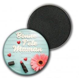 Magnet Aimant Frigo 3.8cm Bonne Fête Maman - Cœur Fleur Rouge Levres sur Bleu