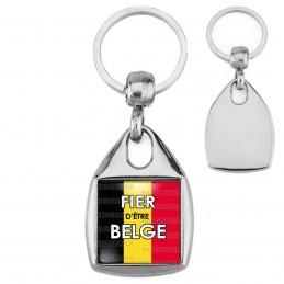 Porte-Clés Carré Acier Fièr d'Etre Belge Drapeau Belge