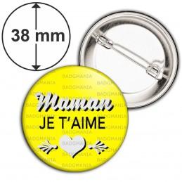 Badge 38mm Epingle Maman Je t'aime - Cœur Gris Fond Jaune