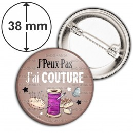 Badge 38mm Epingle J'Peux Pas J'ai Couture - Fil Mercerie