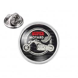 Pin's rond 2cm argenté Super Motard - Moto Ailée Fond Noir