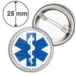 Badge 25mm Epingle Croix de Vie Paramedic Caducée Santé