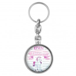 Porte-Clés forme Montre Antique 2 faces ATSEM Licorne - Rose Blanc