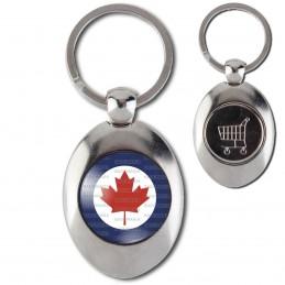 Porte-Clés Acier Ovale Jeton Caddie Cocarde Force Aerienne Canadienne Canada RCAF Feuille Erable Rouge
