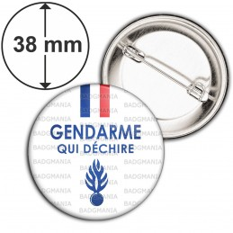 Badge 38mm Epingle Gendarme qui déchire - Bleu Blanc Rouge Flamme Bleu Fond Blanc