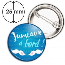Badge 25mm Epingle Jumeaux à Bord - Moustaches - Fond Bleu
