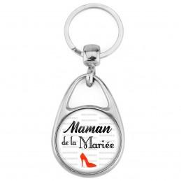 Porte Clés Métal 2 Faces Logo 3cm Maman de la Mariée - Escarpin Rouge Mariage Cérémonie