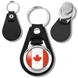 Porte-Clés Cuir Vegan Rond Jeton Caddie Drapeau Canada Flag Feuille Erable Emblème