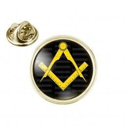 Pin's rond 2cm doré Compas Equerre Francs-Maçons Symbole Maçonnique Jaune Fond Noir