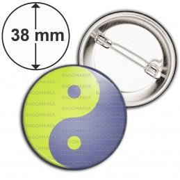 Badge 38mm Epingle Yin Yang Vert Anis Gris Harmonie Equilibre Feng Shui Paix Peace