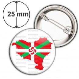 Badge 25mm Epingle Carte Pays Basque Euskadi Euskara Croix Symbole 64 Biarritz