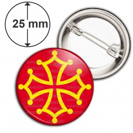 Badge 25mm Epingle Croix Occitane Occitanie Languedoc Toulouse Sud France Or Rouge