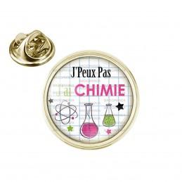 Pin's rond 2cm doré J'Peux pas J'ai Chimie - Fioles Quadrillage