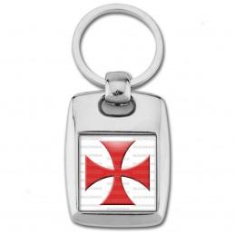 Porte Clés Rectangle Acier 2 Faces Ordre du Temple Templier Croix Templière Rouge Fond Blanc