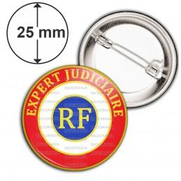 Badge 25mm Epingle Cocarde Tricolore Expert Judiciaire RF Bleu Blanc Rouge