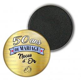 Magnet Aimant Frigo 3.8cm 50 ans de Mariage Noces d'Or - Anneaux Anniversaire Mariage