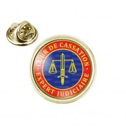 Pin's rond 2cm doré Cocarde Bleu Rouge Expert Judiciaire Cours de Cassation Texte Or