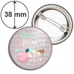 Badge 38mm Epingle J'Peux Pas J'ai FITNESS - Sport