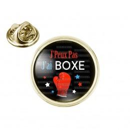 Pin's rond 2cm doré J'Peux Pas J'ai BOXE