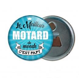 Décapsuleur 6cm Aimant Magnet Le meilleur MOTARD du monde C'est Papy - fond bleu
