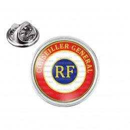 Pin's rond 2cm argenté Cocarde Tricolore Conseiller Général RF Bleu Blanc Rouge