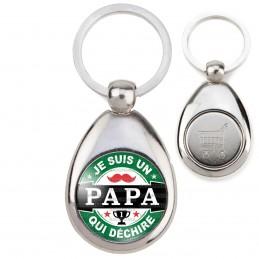Porte-Clés Acier Goutte Jeton Caddie Je suis un PAPA qui déchire - Fond capsule bière